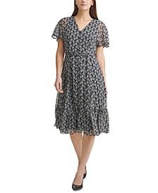 Floral-Print Chiffon Belted Midi Dress