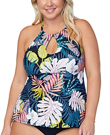 Trendy Plus Size Rosalie Whitehaven Bloom Printed Tankini Top