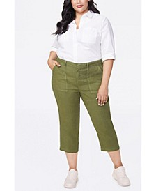Women's Plus Size Stretch Linen Utility Pants