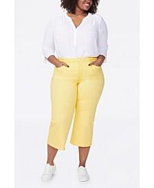 Women's Plus Size Wide Leg Capri Jeans with Frayed Hem
