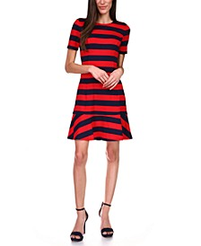 Striped Flounce-Hem A-Line Dress, Regular & Petite Sizes