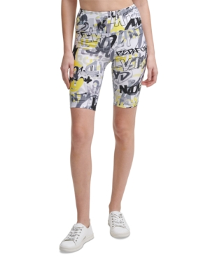 Calvin Klein Performance Printed Biker Shorts In City Tag Caution
