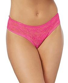 Women's Low-Rise Crotchless Bikini Panty with Ruffle Back Design