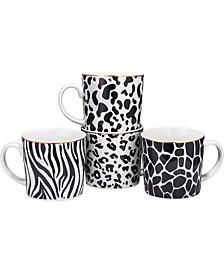 13 oz Animal Print Safari Designs Novelty Mugs, Set of 4