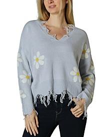 Juniors' Daisy Destructed Sweater