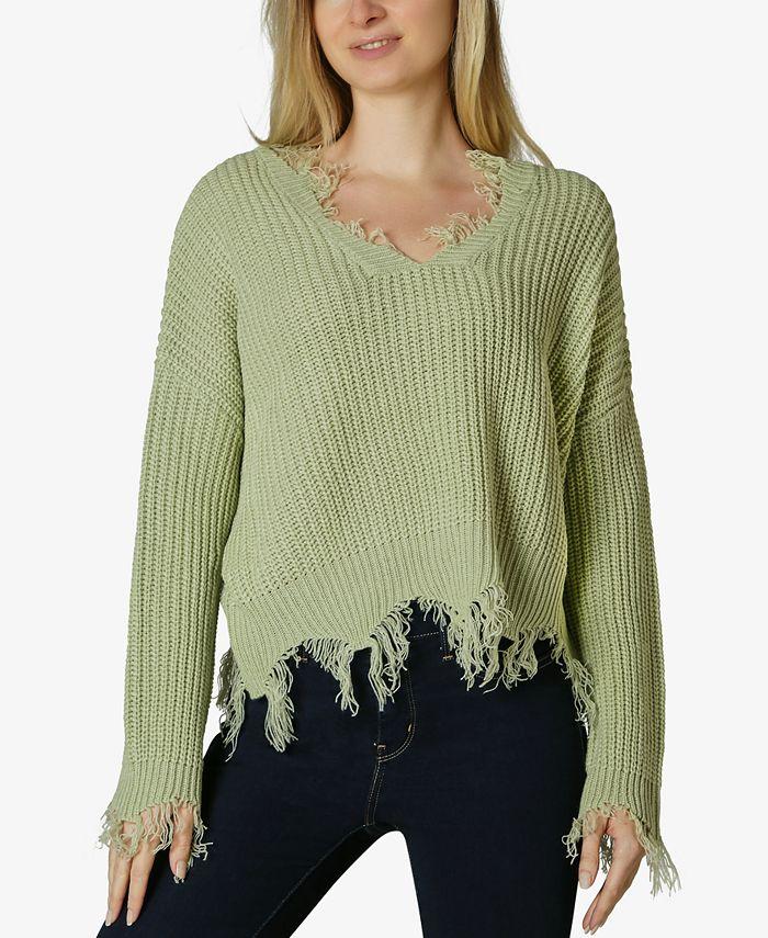 Polly & Esther - Juniors' Destructed V-Neck Sweater