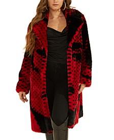 Paisley Faux Fur Coat