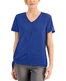 Petite V-Neck Tie-Hem T-Shirt, Created for Macy's