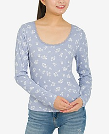 Juniors' Ribbed Floral-Print Top