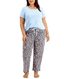 Plus Size Sleep T-shirt & Sleep Pants, Created for Macy's