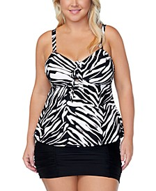 Trendy Plus Size Printed Tankini Top & Swim Skirt
