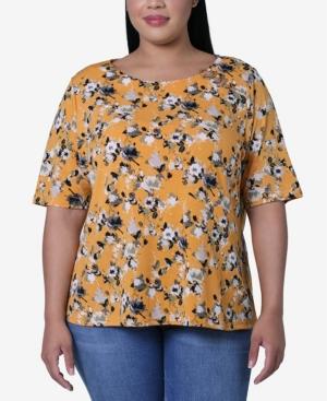 Women's Plus Size 3 Asymmetrical Trim Circle Knit Crepe Top