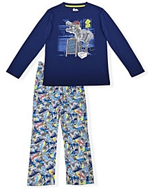 Big Boys Dinosaur Fleece 2 Piece Pajama Set with Cozy Socks
