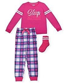 Big Girls Varsity Plaid 2 Piece Pajama Set with Cozy Socks