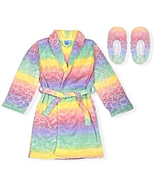 Big Girls Ombre Heart Print Robe with Matching Slippers