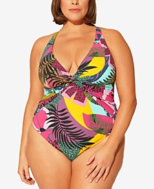 Plus Size Tropical-Print One-Piece Swimsuit