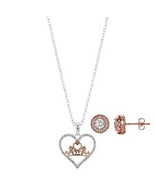 Two-Tone Cubic Zirconia Princess Heart Pendant Necklace and Earring Set in Fine Silver Plated