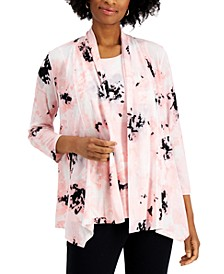 Floral-Print Open-Front Cardigan