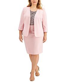 Plus Size Open-Front Blazer, Cowlneck Top & Pencil Skirt