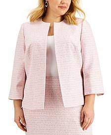 Plus Size Open-Front Tweed Jacket