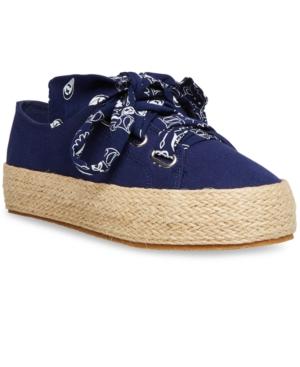 Madden Girl Mimii Bandana-lace Espadrille Sneakers In Navy Multi