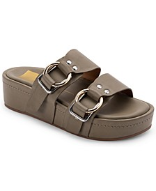 Cici Double-Buckled Flaform Footbed Sandals