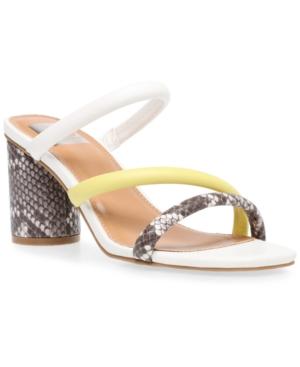 Dv Dolce Vita Myla Strappy Block-heel Sandals Women's Shoes In White Multi