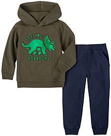 Toddler Boys 2-Piece Boys Dino Hooded Fleece Top with Fleece Pant Set
