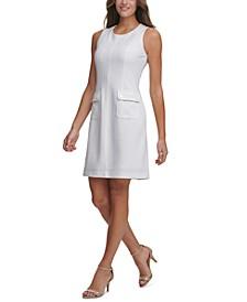 Textured-Knit Pocket Sheath Dress