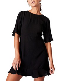 Women's Woven Thelma Retro 3/4 Sleeve Fit and Flare Shift Mini Dress