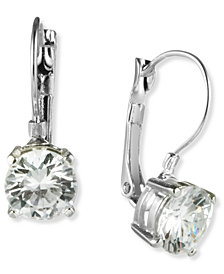 Nine West Earrings, Silver-Tone Round-Cut Crystal Drop Earrings