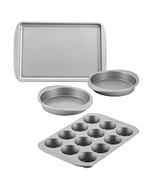 Bakeware Nonstick Cookie, Muffin, Cupcake, and Cake Pan Set, 4-Pc., Gray