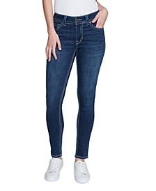 Women's Thick Stitch Skinny Jean with Contrast Stitching and Back Flap