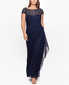 Plus Size Embellished Illusion-Yoke Gown