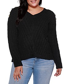 Black Label Plus Size V-Neck Rib Knit Sweater With Embellishment