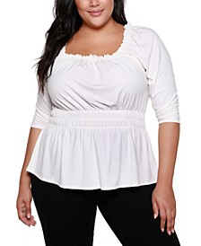 Black Label Plus Size Square-Neck Puff Sleeve Top