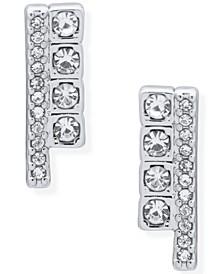 Crystal Cube Bar Stud Earrings