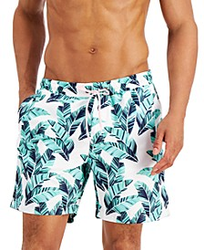 "Men's Regular-Fit Quick-Dry Palm Leaf-Print 7"" Swim Trunks, Created for Macy's"