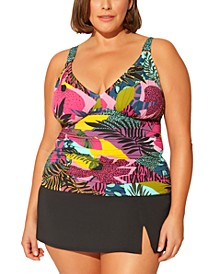 Plus Size Printed Tankini Top & Skirted Bikini Bottoms