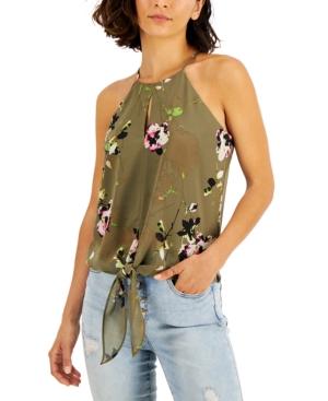 Floral-Print Front-Tie Keyhole Halter Top