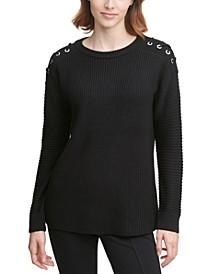 Lace-Up-Trim Sweater