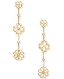 Gold-Tone Cubic Zirconia Flower Linear Drop Earrings