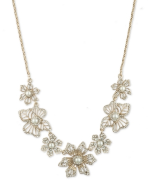 Gold-Tone Crystal & Imitation Pearl Flower Frontal Necklace