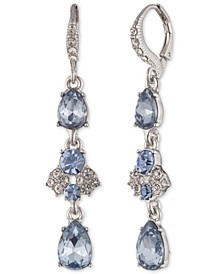 Silver-Tone Crystal Triple Linear Earrings