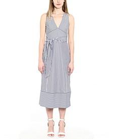 Cotton Striped Faux-Wrap Dress