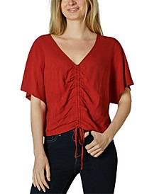 Juniors' Oversized Ruched Top