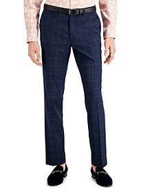 Men's Slim-Fit Blue Windowpane Plaid Suit Pants, Created for Macy's