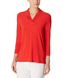 Triple-Pleated V-Neck Top