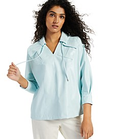 Petite Drawstring-Neck Pocket Top, Created for Macy's