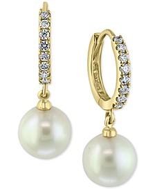 EFFY® Diamond (3/8 ct. t.w.) & Freshwater Pearl (10mm) Drop Earrings In 14k Gold